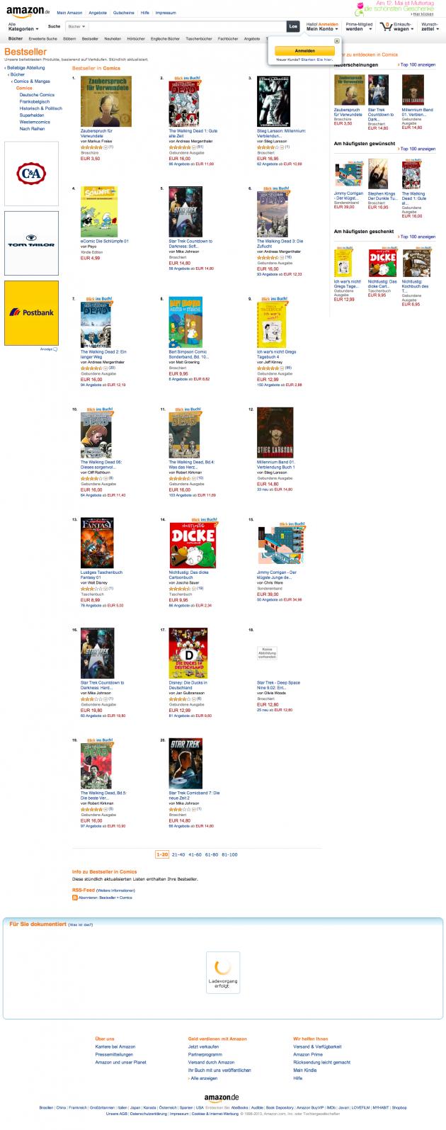 Amazon.de Bestseller- Die beliebtesten Artikel in Comics
