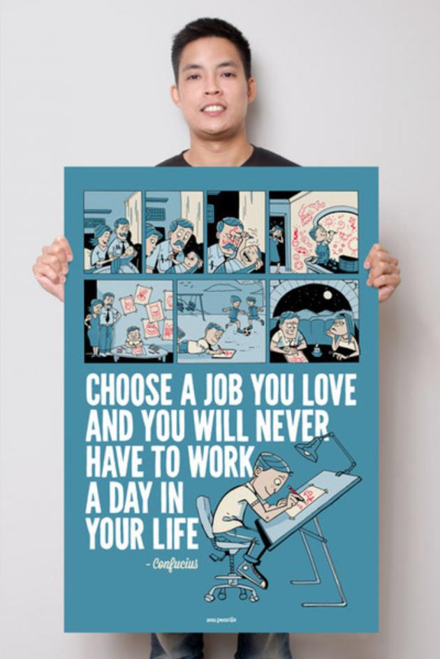 Gavin Aung Than mit einem seiner Poster.